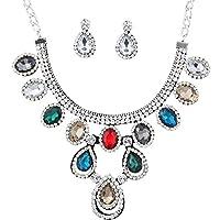 Yazilind Women Crystal Colorful Teardrop Pendent Chunky Necklace Choker Dangel Earrings Jewelry Set Holiday Gift