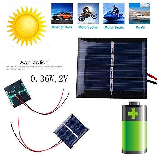 Especificaciones: Color: Negro  Material de la apariencia: Resina  Panel solar: Silicio policristalino  Potencia: 0.36W Corriente de funcionamiento: 0-180MA  Voltaje de funcionamiento: CC 2V  Voltaje de circuito abierto: CC 2.5 V Tamaño del producto:...