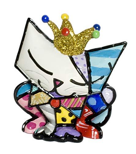 Romero Britto Mini Figur - Cat Sugar - mit Goldkrone - 6cm, 10th Anniv. Spec.Edition - Pop Art Kunst aus Miami #334537 (Britto Katze Figuren)