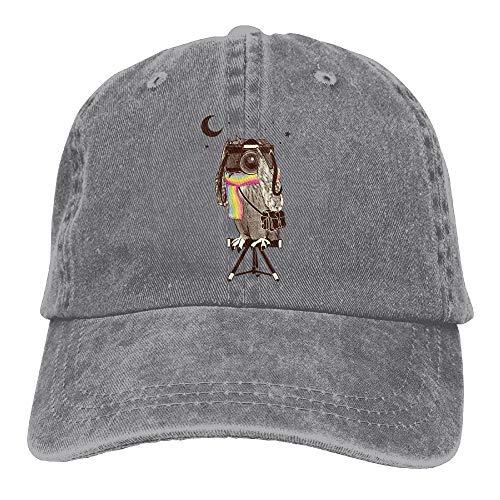 LLALUA Classic Unisex Baseball Cap Ball Hat Night Camera Owl Vintage Folding Camera