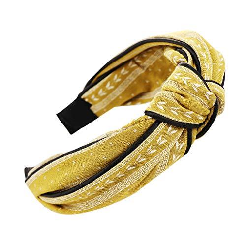 YWLINK Mode Knoten Haarband Frauen Kopfband Süß MäDchen Klassisch Breit Waschen Haarband (A Gelb, Einheitsgröße) -