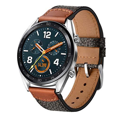 Preisvergleich Produktbild Feitb Retro Steinmuster Lederarmband Klassisch Uhrenarmband Handschlaufe Ersatzarmband Armband Geschenk-Ersatzband Uhren, für Damen,  Herren, Kompatibel für Huawei Watch GT (Schwarz)