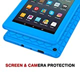 MoKo Case Fits All-New Amazon Fire 7 Tablet (9th Generation, 2019 Release), Flexible Soft Silicone Back Cover Impact-resistant Shell - Blue