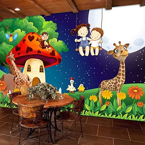 Grüner Wald Cartoon Pilz Zimmer Mond Giraffe Große Wandbilder Tapete Für Kinderzimmer Kinder Schlafzimmer Wand Dekor Wandbild Tier 3D, 250 cm X 175 cm