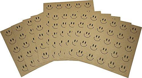 Marrón Kraft Smiley Cara Circulo Punto Pegatinas, 25 mm 1 Pulgada Redondo, 10 Hojas de 20 Pegatinas, 200 Etiquetas Totales
