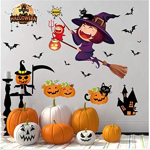 YIHOPAINTI Halloween-Wandaufkleber, entfernbar, Spukhaus, Bar, Fenster