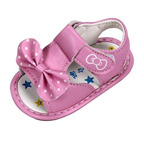UOMOGO Scarpine neonato Scarpine Primi Passi,Elegante e Bello Battesimo Scarpe, Bownot Sandali 0-18 Mesi (Età: 0~6 mesi, Rosa)