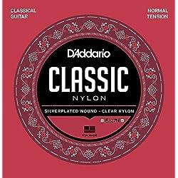 D'Addario EJ27N - Juego de Cuerdas para Guitarra Clásica de Nylon, .028-.043 (Tensión Normal), Transparente