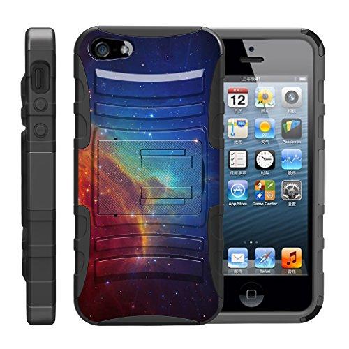 TurtleArmor Schutzhülle für Apple iPhone SE, iPhone 5/5S, Hybrid-Schutzhülle mit Gürtelclip, Ständer, Colorful Nebula Galaxy