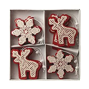 Set of 12 Red Wooden Hanging Christmas Reindeer & Snowflakes