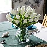 10 Stück Tulpe künstliche Blume, BDM Latex Real Touch Bridal Wedding Bouquet Home Decor Künstliche Tulpe-Blumen für Hochzeits -Blumenstrauß und Haus-Dekor Gartendekoration , Simulation Real Touch Bunte Tulpe für Valentinstag Geburtstag Weihnachtsgeschenk (Weiß)
