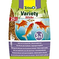 Tetra Pond Variety Sticks Fish Food, Mix of Three Different Food Sticks for All Pond Fish, 25 Litre