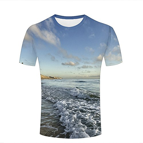qianyishop Mens Womens Casual Design 3D Printed Breathtaking Seaside Graphic Short Sleeve Couple T-Shirts Top Tee S (Ringer T-shirt Design Junior)