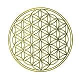 EnerChrom - Blume des Lebens Metall-Aufkleber 5 cm - 1 Stück - Farbe gold - 3D-Sticker, glänzend verchromt - selbstklebend, ohne Transparentfolie