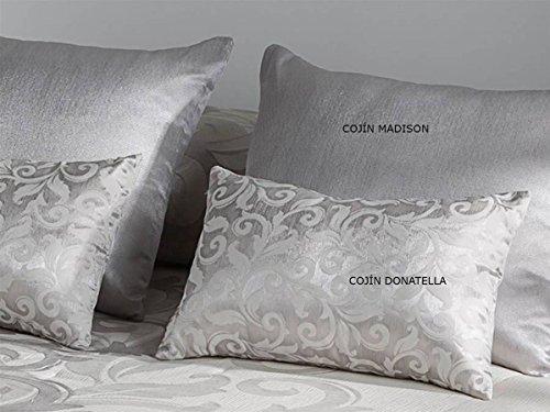 Tejidos JVR LaNovenaNube - Cojín Donatella 30x50 cm - Color Plata con Relleno