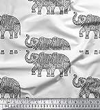 Soimoi Grau Poly Krepp Stoff Elefant Tier Stoff drucken Meter 42 Zoll breit