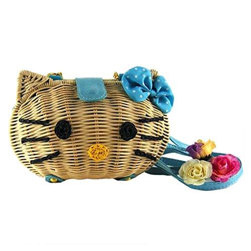 Donne Ragazze Mini Fumetto Gatto Bowknot Tessitura Piccolo Spalla Borse Da Spiaggia Crossbody Blu