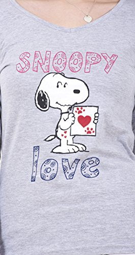 Ensemble pyjama femme Snoopy à manches longues, pyjama femme Mickey Mouse et Minnie Blanc- Snoopy Love