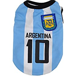 KayMayn - Camiseta de fútbol con licencia para perro, incluye 6 tallas, diseño de perro de fútbol, para disfraz de perros, para uso al aire libre, deporte, verano, transpirable, color Argentina, tamaño XXXX-Large