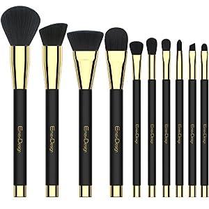EmaxDesign 10 piezas Juego de brochas de maquillaje cara Fundación Blush de ojos sombra de ojos labios pinceles de maquillaje polvo líquido crema cosméticos herramientas maquillaje (Golden negro)
