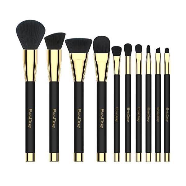 738796f791809 EmaxDesign 10 piezas Juego de brochas de maquillaje cara Fundación ...