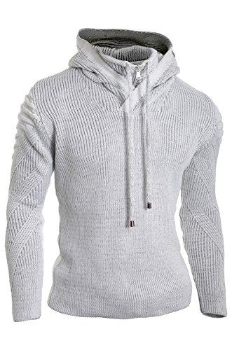 Herren-Reißverschluss Mit Kapuze Jumper Wolle Stricken Lange Ärmel Sweatshirt Gestreift Gerippt Warm (Stricken Elfenbein-kabel Pullover)