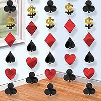 Fancy Dress VIP 6 x Casino String Decoration Dollar Sign Card Suits Club Spades Hearts Balloon String Banner Garland