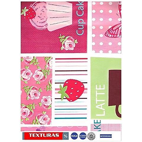Texturen Home Tischdecke aus Wachstuch ECKIG 200x 140cms mit Biese Sweet Cherry Patch Waterproof