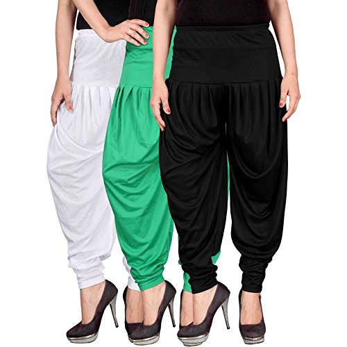 Culture the Dignity Women's Lycra Dhoti Patiala Salwar Harem Pants CTD_00WGB_1-WHITE-GREEN-BLACK-FREESIZE -...