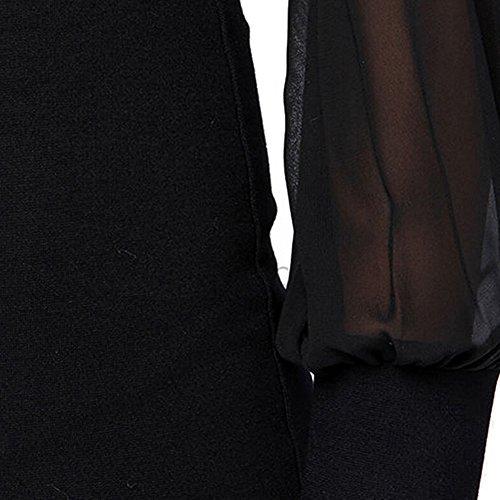hibote Sexy Backless Minikleid-Cocktail-Abend-Partei-Chiffon-Pack-Hüfte-Kleid Schritt Rock / dünnes Kleid Schwarz