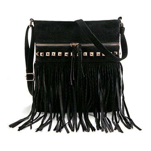 Koly_messenger bag borsa tote della spalla della borsa delle donne Nero