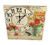 GMMH Reloj De Pared 40X40cm Madera Rosas Reloj de Cocina Modern Color Rosa