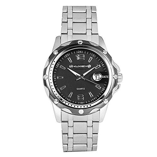 Armbanduhr, Herren Uhren KUXIEN Herren Edelstahl Armbanduhr Geschäfts Beiläufig Uhren Männer Sport Wasserdicht Datum mit Schwarz Zifferblatt