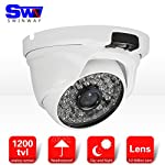 Swinway Home CCTV System Dome CCTV Camera Day & Night Vision with IR-CUT Waterproof Outdoor Security Surveillance Camera with 3.6mm Wide View Angle 48pcs IR LEDs