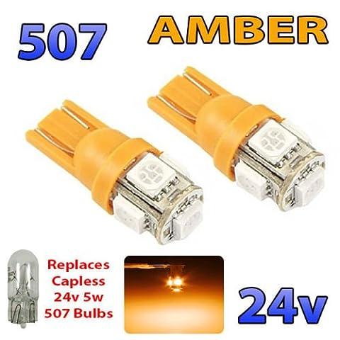2x Ambre 24V sans capuchon Hella spot 507W5W 5SMD T10Wedge ampoules Camion de poids lourds