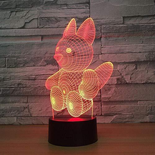 3D Illusion Lampe Eichhörnchen LED Nachtlicht, USB-Stromversorgung 7 Farben Blinken Berührungsschalter Schlafzimmer Schreibtischlampe für Kinder Weihnachts geschenk - C6 Mit Blauem Led-licht