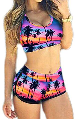 Bettydom Damen Tankini gedruckte Wort Vest bunt Sport Waist Halter Badeanzug Colourful Hawaii Bademode Lila Kokosnussbaum