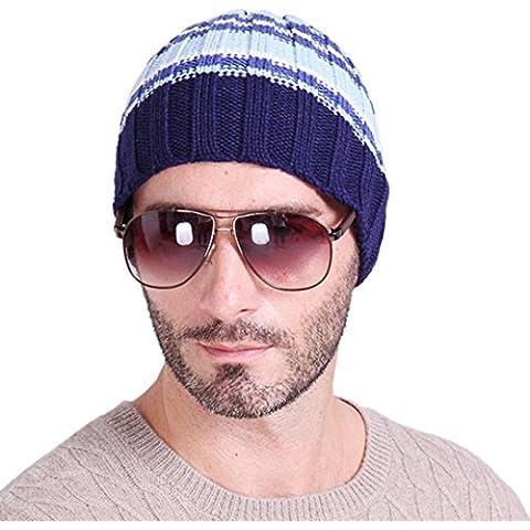 ZARU Los hombres de punto de ganchillo esquí Slouch sombrero del invierno de la gorrita tejida del sombrero de Hip-Hop en color sólido