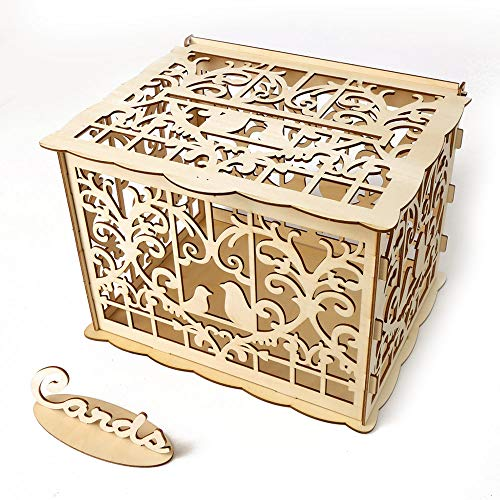 TOPmountain DIY rustikale Hochzeit Karte Box mit Schloss und Karte Zeichen aus Holz Geschenk Karte Box Spardose für Geburtstag Abschlussfeier Dekorationen - # 2, Love Birds (Hochzeit Rustikale Karte Box)