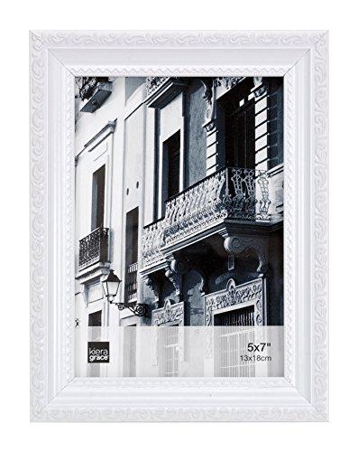 Keira Mauspad Grace Claire Bilderrahmen, White with Raised Leaf Border, 5 x 7 Inches Leaf Border