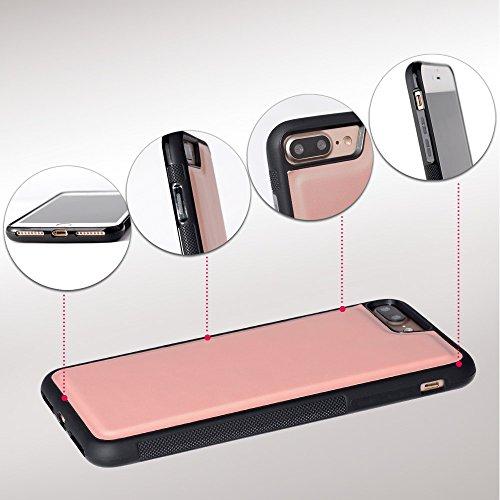 iPhone 8 Plus / 7 Plus Hülle, SHANSHUI 2in1 Doppelschutz Handyhülle mit RFID Schutz, Kartenfach für Bankarte und Geldschein, Geldbeutel-Style mit Magnetverschluss (Schwarz) … Pink