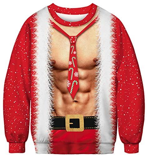 Ocean Plus Herren Digitaldruck Pulli Creww Neck Halloween Thema Sweatshirt Weihnachten Unisex Langarm Pullover (XL (Brustumfang: 116cm), Weihnachten Bauchmuskeln)