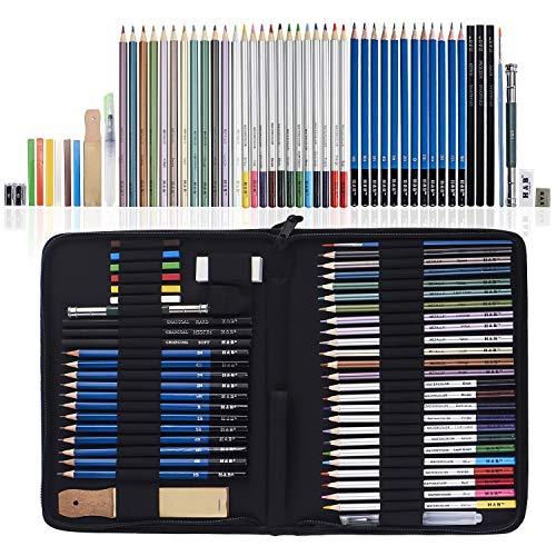 H & B 51 Stück Zeichenstifte, Buntstifte und Skizzenstifte Set mit Zeichnungs-Werkzeug in Pop-Up-Etui mit Reißverschluss - Ideales Geschenk für Anfänger