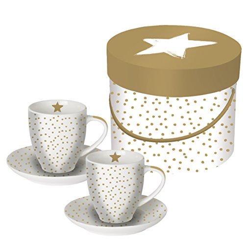 Weihnachts-Tassen/Espresso-Tassen in weiß mit goldenen Punkten & einem Stern - Set 2 Tassen & 2 Unter-Teller verpackt in edler Geschenk-Box - Weihnachts-Geschenk/Deko/ Weihnachten