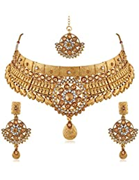 PALASH FASHIONABLE FLORAL GOLD PLATED DESIGNER CHOKER BRIDAL NECKLACES SET WITH LCT AND WHITE STONES FOR WOMENS