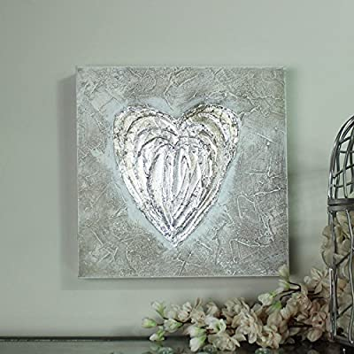 Silver Love Heart Canvas Wall Art produced by Melody Maison - quick delivery from UK.