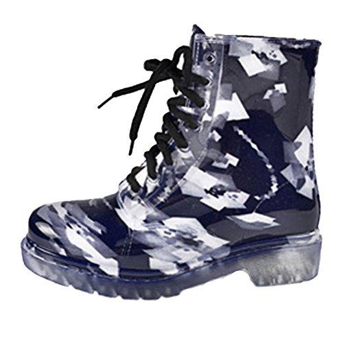 SGoodshoes Femmes Martin pluie Chaussures étanches Chaussures à lacets Bottes Wellington Bleu 3