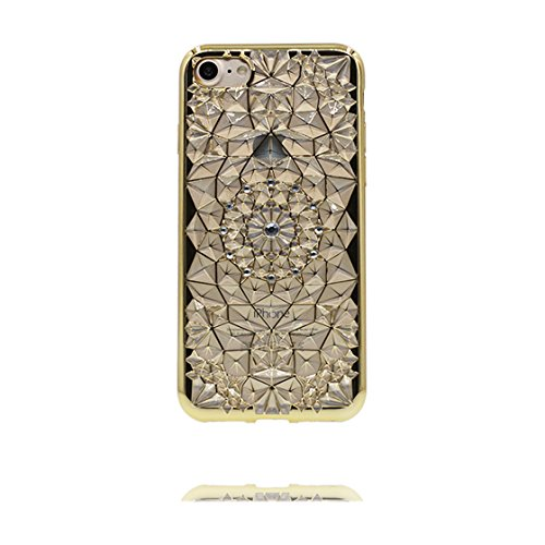iPhone 7 Plus Custodia, Fashion Silicone trasparente morbido Cover Shell per iPhone 7 Plus Copertura / 3D diamante Bling / iPhone 7 Plus Case 5.5 Anti shock Durable / rosa doro 1