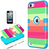 iPod Touch 5th 6th Generation Case , iPod Touch 5/6 Case Genuine ZAFOORAH Hybrid Shockproof Impact Defender Including Stylus Screen Protector Microfiber Cloth (Rainbow - 3 Layers - Light Blue)
