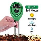 Medidor de pH del Suelo; Kit de Test de Suelo 3-en-1 para Humedad, Luz y pH; Imprescindible para sus herramientas de jardinería; Medidor de Suelo para Interiores y Exteriores con Precisión del 100%